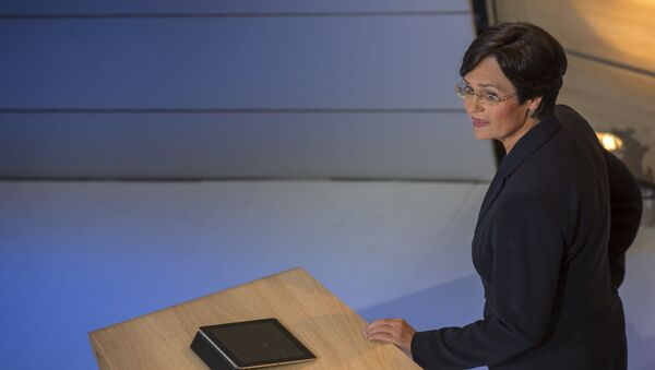 Christine Lieberknecht, top candidate for the Christian Democrats CDU in Thuringia attends a TV show after the results of the exit polls are announced on TV at an election party in Erfurt, eastern Germany on September 14, 2014 - Sputnik International