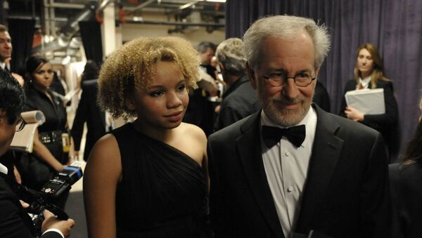 Steven Spielberg and daughter Mikaela George Spielberg are seen backstage at the 81st Academy Awards Sunday, Feb. 22, 2009, in the Hollywood section of Los Angeles - Sputnik International