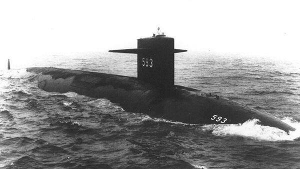 USS Thresher (SSN-593) Starboard bow view, taken at sea on 24 July 1961 - Sputnik International