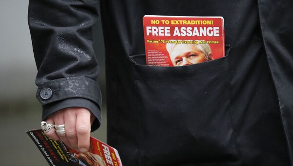A protester carries leaflets in support of WikiLeaks founder Julian Assange outside Westminster Magistrates Court in London on February 19, 2020, during Assange's remand hearing via video-link as he fights extradition to the United States. - Sputnik International
