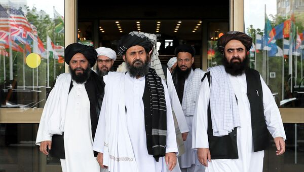 FILE PHOTO: Members of a Taliban delegation leaving after peace talks with Afghan senior politicians in Moscow, Russia May 30, 2019 - Sputnik International