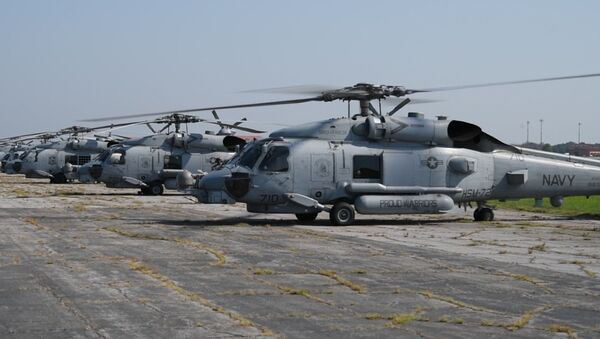 Navy MH-60R Helicopters from Naval Air Station Jacksonville and Naval Station Mayport return home after evacuating to Maxwell Air Force Base, Alabama, in advance of Hurricane Dorian Sept. 5, 2019 - Sputnik International