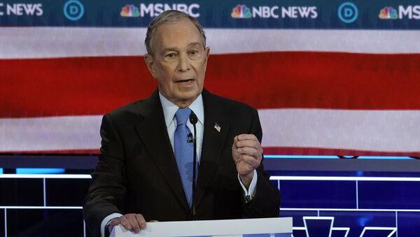 Former New York City Mayor Mike Bloomberg speaks at the ninth Democratic 2020 U.S. Presidential candidates debate at the Paris Theater in Las Vegas, Nevada, U.S., February 19, 2020 - Sputnik International