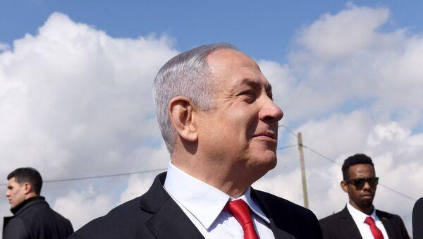 Israeli Prime Minister Benjamin Netanyahu near the Israeli settlement of Har Homa - Sputnik International