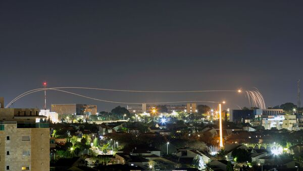 Iron Dome anti-missile system fires interception missiles as rockets are launched from Gaza towards Israel, as seen from the city of Ashkelon, Israel, February 23, 2020. - Sputnik International