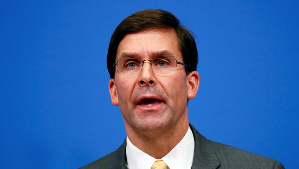 U.S. Secretary of Defence Mark Esper speaks at a news conference following a NATO defence ministers meeting at the Alliance headquarters in Brussels, Belgium, February 13, 2020.  - Sputnik International