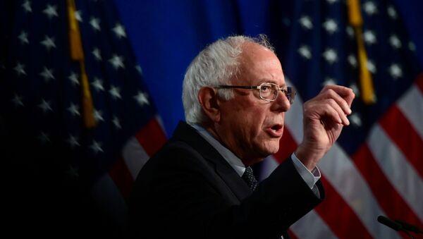 U.S. presidential candidate Senator Bernie Sanders (I-VT) delivers a speech to defend his support for a sweeping Medicare for All healthcare plan at George Washington University in Washington, U.S., July 17, 2019 - Sputnik International