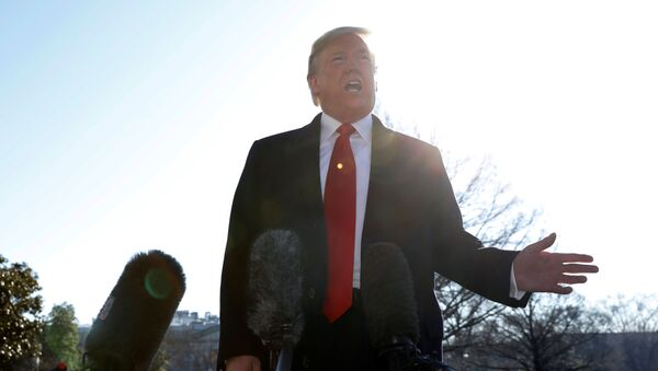US President Donald Trump speaks to the media on the South Lawn of the White House in Washington, U.S., before his departure to India, February 23, 2020.  - Sputnik International