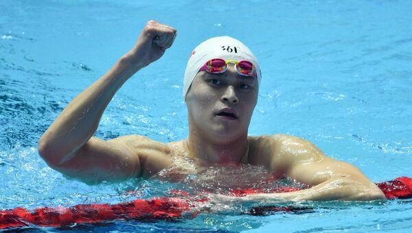 China's Sun Yang reacts during the swimming men's 400m freestyle final competition at the World Aquatics Championships, in Gwangju, South Korea - Sputnik International