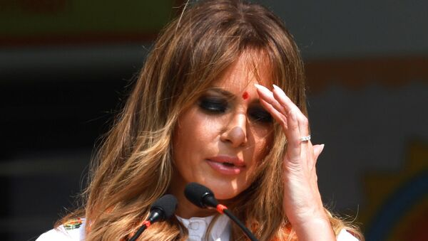 U.S. first lady Melania Trump gestures as she speaks at the Sarvodaya Co-Education Senior Secondary School in Moti Bagh, in New Delhi, during a visit by U.S. President Donald Trump in India, February 25, 2020. - Sputnik International