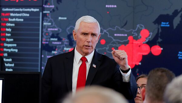 US Vice President Mike Pence speaks during a tour of the secretary's operation center following a coronavirus task force meeting at the Department of Health and Human Services (HHS) in Washington, US, 27 February 2020. - Sputnik International