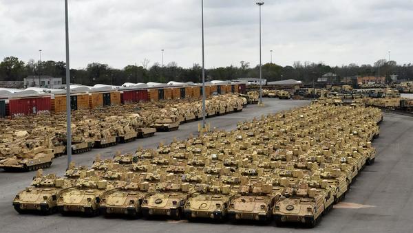 US military equipment preparing to be deployed to Europe for Defender-Europe 2020 drills. - Sputnik International