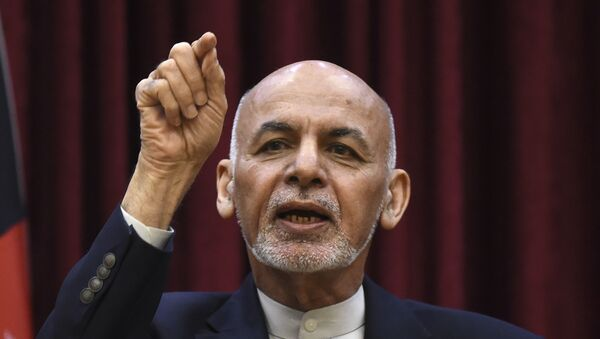 Afghan President Ashraf Ghani gestures as he speaks during a press conference at the presidential palace in Kabul on 1 March 2020.  - Sputnik International