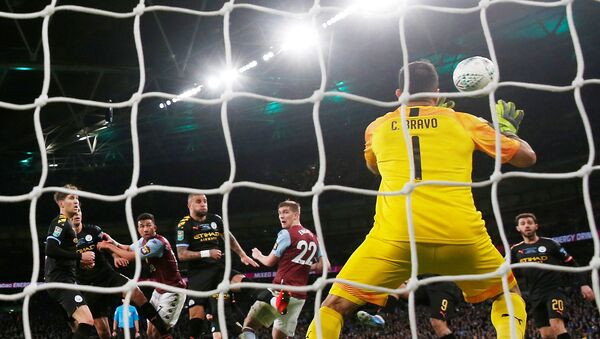 Soccer Football - Carabao Cup Final - Aston Villa v Manchester City - Wembley Stadium, London, Britain - March 1, 2020  Manchester City's Claudio Bravo makes a save from Aston Villa's Bjorn Engels header  - Sputnik International