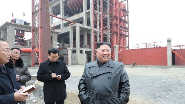 North Korean leader Kim Jong Un (R) visiting the construction site of the Sunchon phosphatic fertiliser factory in South Pyongan province - Sputnik International