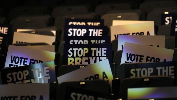 Placards are stacked at the 'Stop The Brexit Landslide', organised by the Vote for a Final Say campaign and For our Future's Sake, at London's Mermaid Theatre in London on December 6, 2019 - Sputnik International
