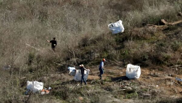 Personnel collect debris while working with investigators at the helicopter crash site of NBA star Kobe Bryant in Calabasas, California - Sputnik International