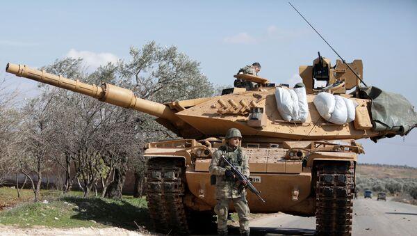 A Turkish soldier  east of Idlib city in northwestern Syria - Sputnik International