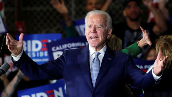 Democratic U.S. presidential candidate and former Vice President Joe Biden addresses supporters at his Super Tuesday night rally in Los Angeles, California, U.S., March 3, 2020 - Sputnik International