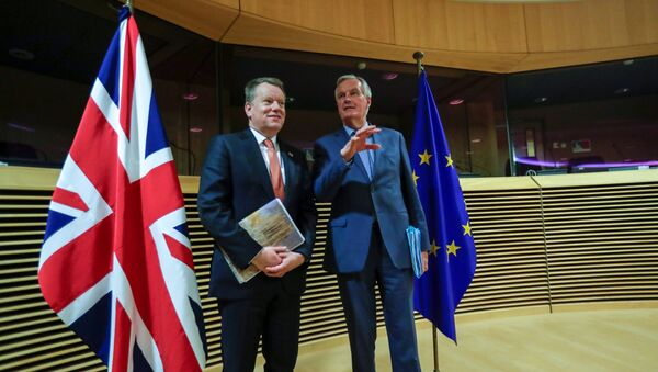 European Union chief Brexit negotiator Michel Barnier and British Prime Minister's Europe adviser David Frost 5 are seen at start of the first round of post -Brexit trade deal talks between the EU and the United Kingdom, in Brussels, Belgium March 2, 2020 - Sputnik International