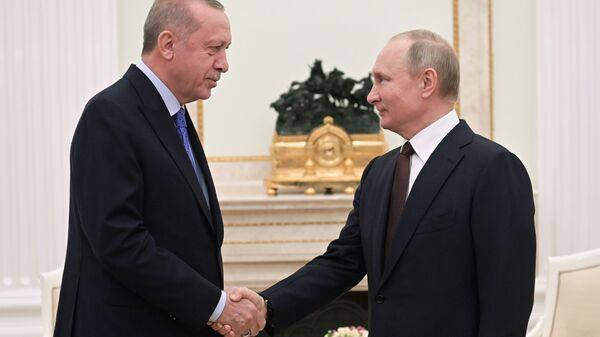 Russian President Vladimir Putin and Turkish President Recep Tayyip Erdogan meet in Moscow on 5 March 2020 - Sputnik International
