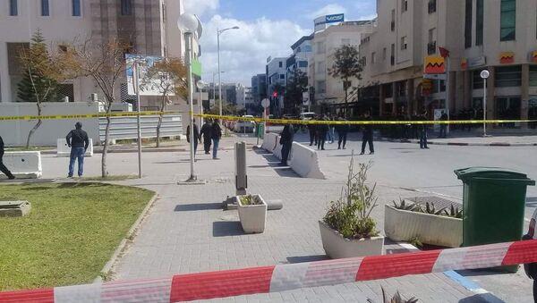 The site of a suicide attack near the U.S. embassy in Tunis, Tunisia March 6, 2020  - Sputnik International