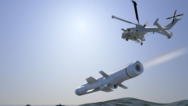 FASGW Heavy ANL [Sea Venom] launch from AW159 Wildcat against enemy vessel - Sputnik International