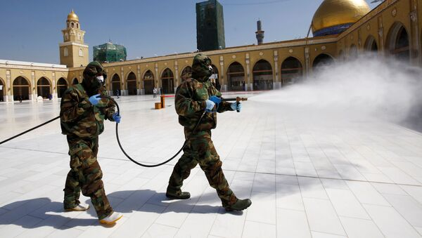 Members of the civil defense team spray disinfectant to sanitize surrounding of the Kufa mosque - Sputnik International