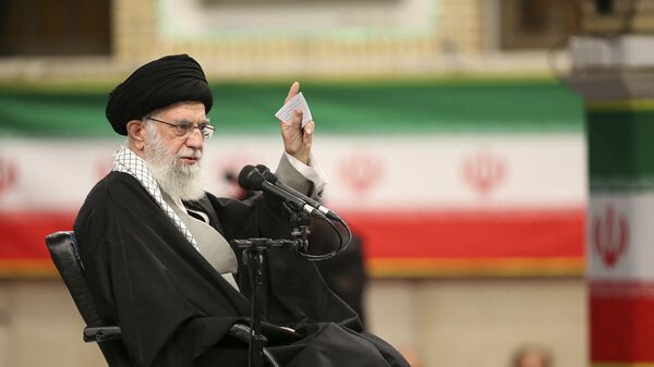 In this photo released by the official website of the office of the Iranian supreme leader, Supreme Leader Ayatollah Ali Khamenei speaks in a meeting in Tehran, Iran, Feb. 5, 2020. - Sputnik International