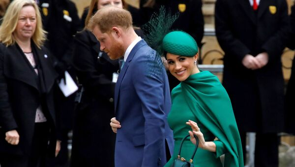 Britain's Prince Harry, Duke of Sussex, (L) and Meghan, Duchess of Sussex arrive to attend the annual Commonwealth Service at Westminster Abbey in London on 9 March 2020. - Sputnik International