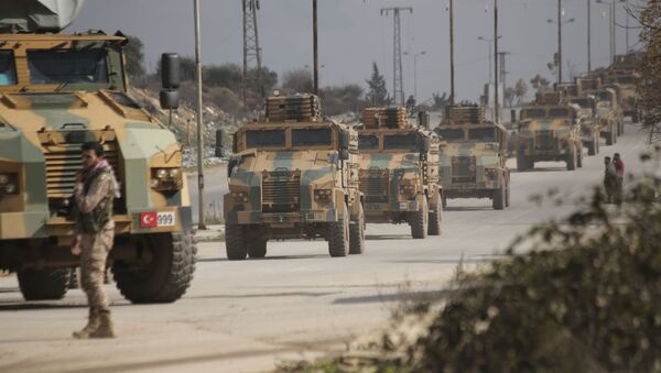 FILE - In this 22 February 2020 file photo, a Turkish military convoy moves in Idlib province, Syria - Sputnik International