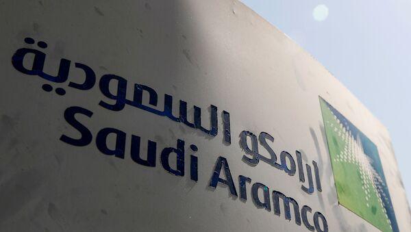 FILE PHOTO: Saudi Aramco logo is pictured at the oil facility in Khurais, Saudi Arabia October 12, 2019.  - Sputnik International