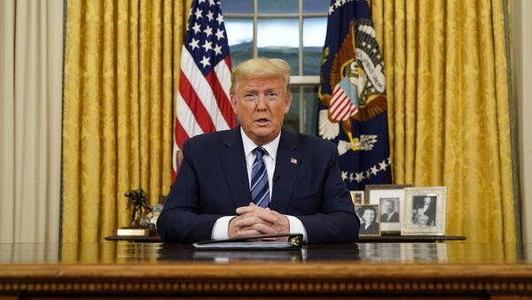 U.S. President Donald Trump speaks about the U.S response to the COVID-19 coronavirus pandemic during an address to the nation from the Oval Office of the White House in Washington, U.S., March 11, 2020.  - Sputnik International
