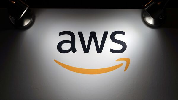 The logo of Amazon Web Services (AWS) is seen during the 4th annual America Digital Latin American Congress of Business and Technology in Santiago, Chile, September 5, 2018 - Sputnik International