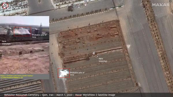 Satellite image of mass graves prepared at the Behesht-e Masoumeh cemetery in Qom, Iran, for those killed by the COVID-19 coronavirus. Taken March 1, 2020. - Sputnik International