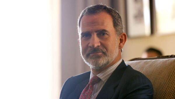 Spain's King Felipe VI poses in the residence of Uruguay's President elect Luis Lacalle Pou, a day before the swear in ceremony, in Canelones, Uruguay February 29, 2020. - Sputnik International