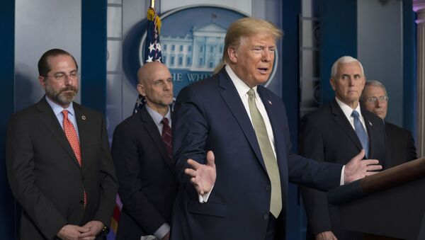 President Donald Trump speaks during a press briefing with the coronavirus task force, at the White House, Tuesday, March 17, 2020, in Washington. - Sputnik International