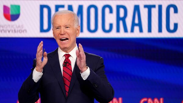 Joe Biden speaks during the 11th Democratic candidates debate of the 2020 U.S. presidential campaign, held in CNN's Washington studios without an audience because of the global coronavirus pandemic, in Washington, U.S., March 15, 2020 - Sputnik International