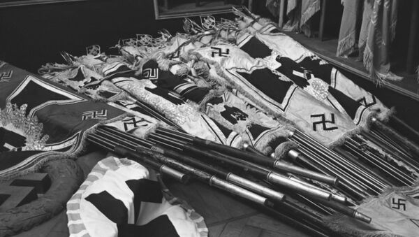 Banners of defeated Nazi army captured in battles by units of the Soviet Army. - Sputnik International