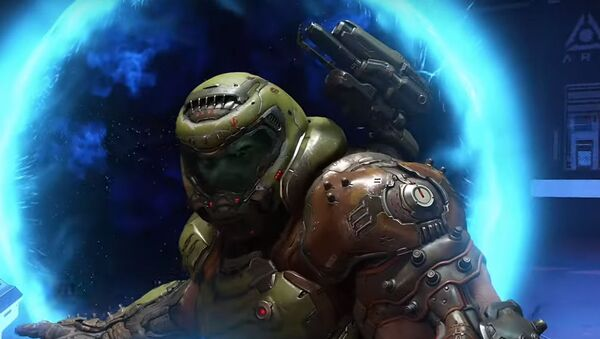 Doom Slayer, the protagonist from Id Software's Doom Eternal  - Sputnik International