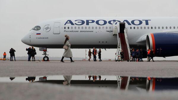 Airbus A350-900 aircraft of Russia's flagship airline Aeroflot at Sheremetyevo International Airport - Sputnik International