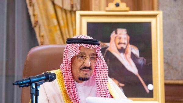 Saudi King Salman bin Abdulaziz delivers a televised speech regarding the outbreak of the coronavirus disease (COVID-19), in Riyadh, Saudi Arabia March 19, 2020 - Sputnik International