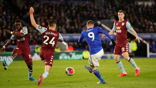 Leicester's Jamie Vardy scores in the 4-0 win against Aston Villa, the last Premier League game before coronavirus forced a mass postponement - Sputnik International