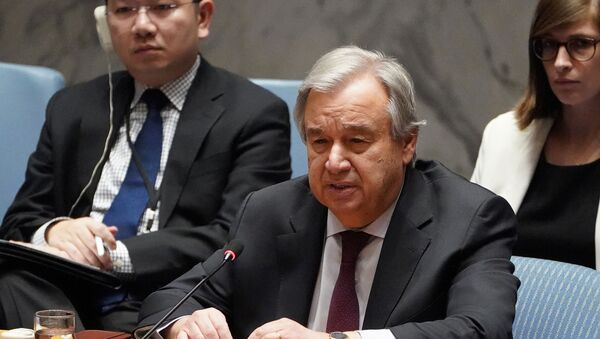 Secretary General of the United Nations Antonio Guterres speaks during a Security Council meeting about the situation in Syria at U.N. Headquarters in the Manhattan borough of New York City, New York, U.S.,  28 February, 2020 - Sputnik International