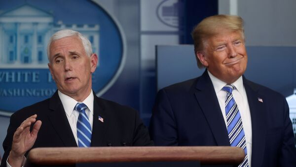 U.S. President Donald Trump, with Vice President Mike Pence, leads the daily coronavirus response briefing at the White House in Washington, U.S. March 23, 2020. - Sputnik International