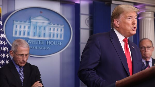 U.S. President Donald Trump addresses the coronavirus task force daily briefing as as National Institute of Allergy and Infectious Diseases Director Anthony Fauci listens at the White House in Washington, U.S., March 24, 2020 - Sputnik International