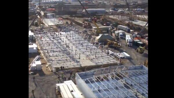 Drone footage shows construction of new coronavirus hospital in Russia - Sputnik International