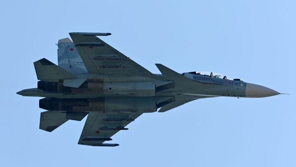 An Su-27 airplane during demonstration performances at the exhibition of weapons and military equipment in Rostov-on-Don. - Sputnik International
