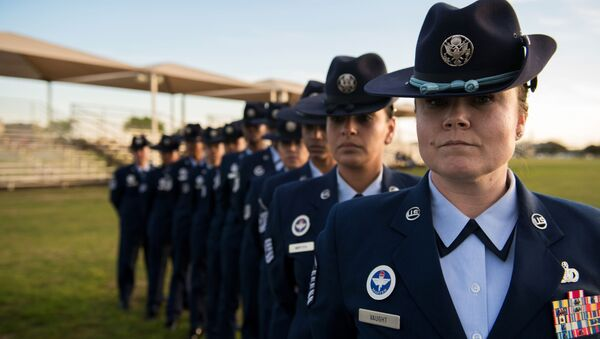 U.S. Air Force female military training instructors, 737th Training Group, pose for a photo before the basic military training graduation parade in support of Women's History Month, March 6, 2020 - Sputnik International