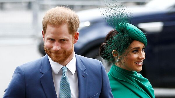 Britain's Prince Harry and Meghan, Duchess of Sussex, arrive for the annual Commonwealth Service at Westminster Abbey in London, Britain March 9, 2020.  - Sputnik International